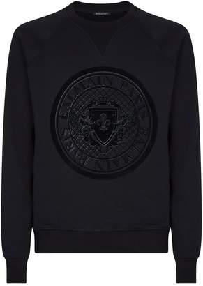 Balmain Tonal Medallion Logo Sweatshirt
