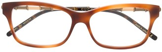 Gucci Bamboo-Effect Rectangular-Frame Glasses