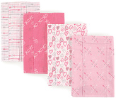 Luvable Friends Pink Love Layered Flannel Burp Cloth - Set of Four
