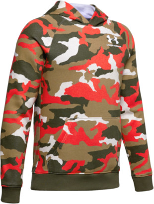 Under Armour Rival Printed Hoodie Sweatshirt - Martian Red / White Camo