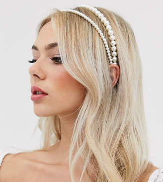 Designb London DesignB London double pearl headband-White