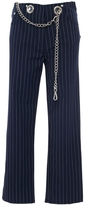 Miaou Tommy Pinstripe Straight Leg Pant with Chain Belt
