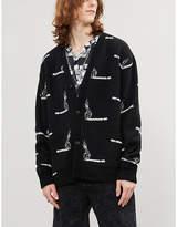 Amiri Smoke intarsia-pattern cashmere and wool-blend cardigan