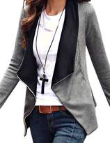 LookbookStore Women's Casual Contrast Draped Asymmetric Blazer Jacket US