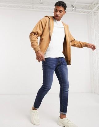 ASOS DESIGN oversized zip up hoodie in brown