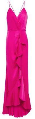 Jay Godfrey Elsie Draped Ruffled Satin-crepe Gown