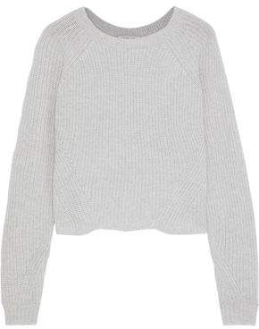 Autumn Cashmere Scallop Shaker Ribbed Cashmere Sweater