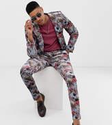 Asos Design ASOS DESIGN Tall super skinny suit trousers in blue floral print velvet