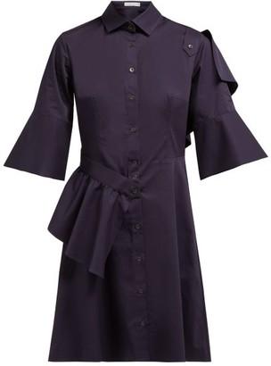 Palmer Harding Palmer//Harding Palmer//harding - Sash Ruffle Trimmed Cotton Blend Shirtdress - Womens - Navy