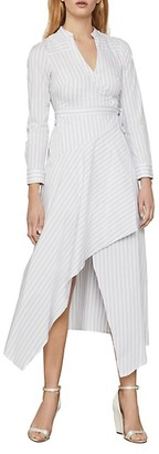 BCBGMAXAZRIA Striped Cotton-Blend Wrap Dress