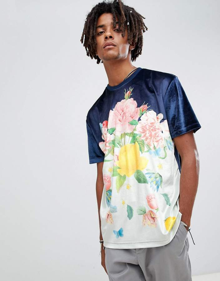 Asos Design DESIGN relaxed t-shirt in velour with floral print