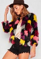 Missy Empire Kandyce Multi Coloured Faux Fur Jacket