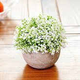 Artificial Flower SituMi SituMi Artificial Fake Flowers simulation Plants Plastic Pot Paper Vases Decoration Is Little Grass,White