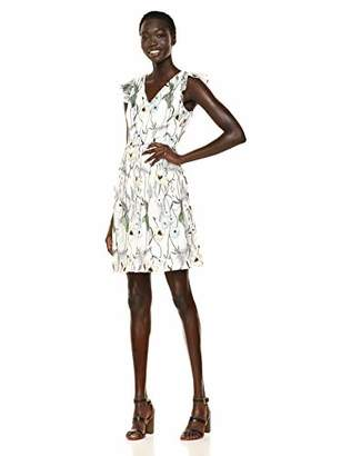 Adrianna Papell Women's Floral Embroidered Fit and Flare Dress with Cap Sleeves