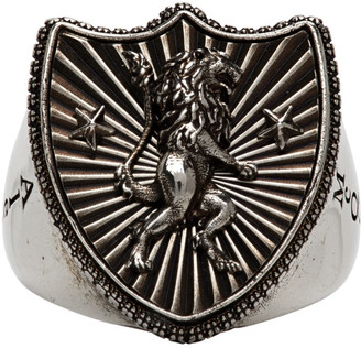 Alexander McQueen Silver Lion Shield Ring