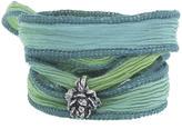 Catherine Michiels Peony Silver Charm & Silk Bracelet Wrap