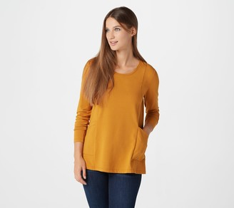 Isaac Mizrahi Live! Scoop- Neck Princess Seam Knit Top with Pockets