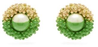Marine Serre Paint-dipped Vintage Earrings - Womens - Green