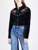 Mo&Co. Floral-embroidered velvet shirt