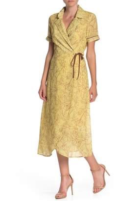 Honey Punch Cutout Back Printed Midi Wrap Dress
