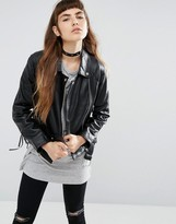 Asos Leather Biker Jacket with Stitch and Lace up Detail
