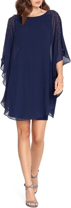 Xscape Evenings Chiffon Beaded Cape Sleeve Dress