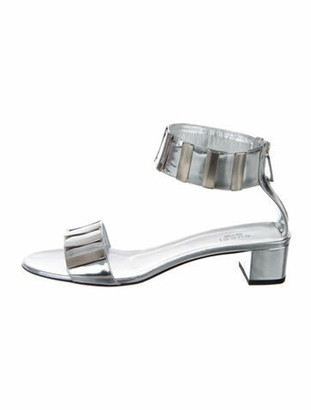 Gucci Patent Leather Printed Sandals Silver