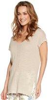 M&Co V neck tie back linen jumper