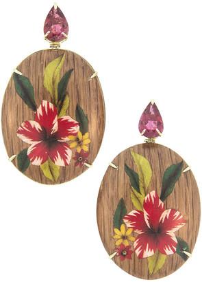 Silvia Furmanovich 18k Tourmaline Marquetry Flower Earrings