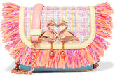 Sophia Webster Claudie Fringed Tweed And Leather Shoulder Bag - Pastel pink