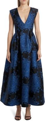 Valentino V-Neck A-Line Brocade Gown