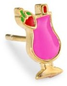 Judith Leiber 14K Goldplated Sterling Silver & Enamel Cocktail Single Stud Earring