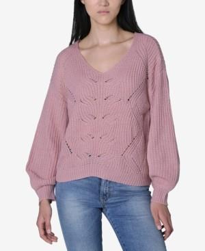 Ultra Flirt Juniors' Mixed-Stitch Lattice Sweater