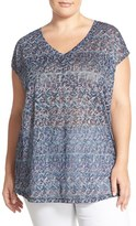 Sejour Plus Size Women's Print Burnout V-Neck Tee