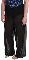 Longitude Solid Mesh Tie Pants Cover-Up (For Plus Size Women)