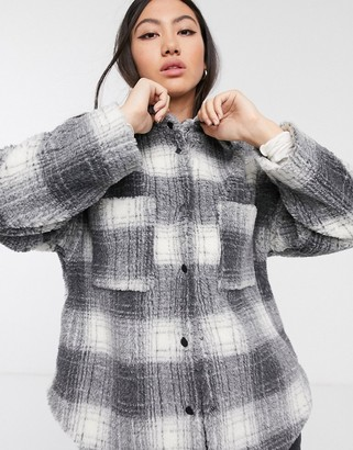 ASOS gray check borg shacket