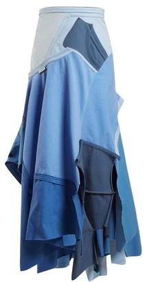 Loewe Patchwork Asymmetrical-hem Skirt - Womens - Blue Multi