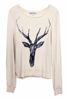 Wildfox Couture Stag Baggy Beach Jumper in Dirty White