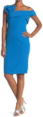 Marina Pleated One-Shoulder Sheath Dress