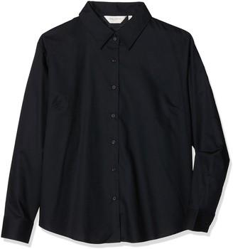 Fruit of the Loom Ladies Lady-Fit Long Sleeve Oxford Shirt (S) (Black)