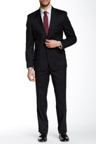 Kenneth Cole New York Woven Black Two Button Notch Lapel Wool Blend Suit