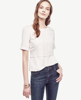Ann Taylor Petite Lacy Mixed Media Tee