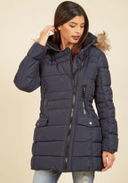 Steve Madden Central Parka Coat in Navy in M