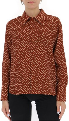 Saint Laurent Pointed-Collar Polka Dot Shirt
