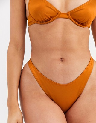 Twiin Exclusive high leg scrunch back bikini bottom in copper