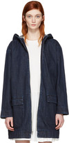 Edit Blue Cocoon Hooded Jacket