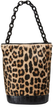 Nancy Gonzalez Jojo Large Crocodile & Goat Fur Bucket Bag