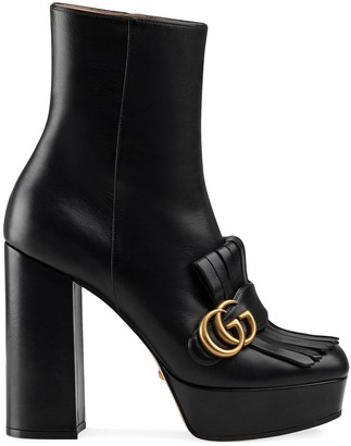 Gucci Leather Ankle Boot With Plateau And Fringe