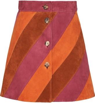 Miu Miu Suede Striped Skirt