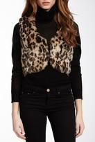 Steve Madden Leopard Print Faux Fur Cropped Vest
